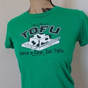Save a Cow Eat Tofu American Apparel Girl L Shirt